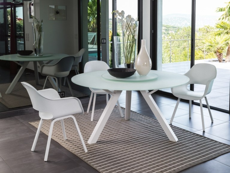 Round glass and aluminium table with Lazy Susan CIRCLE | Round table by Talenti