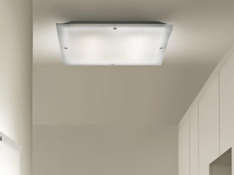 Glass ceiling light QUADRA PL - Vetreria Vistosi