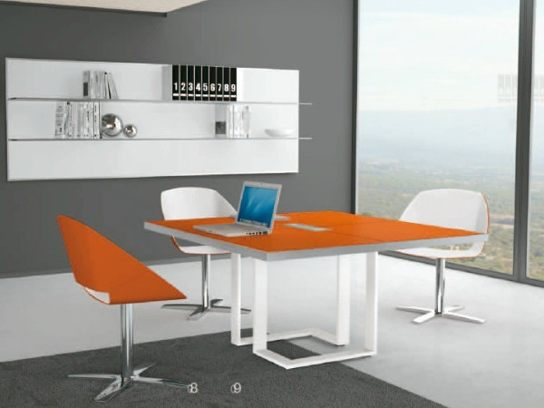 Square wooden meeting table ARCHIMEDE | Square meeting table - Castellani.it