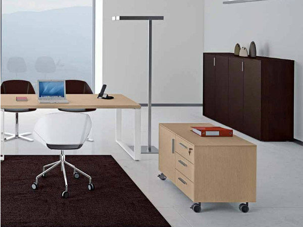 Wooden office drawer unit with casters ARCHIMEDE | Office drawer unit - Castellani.it