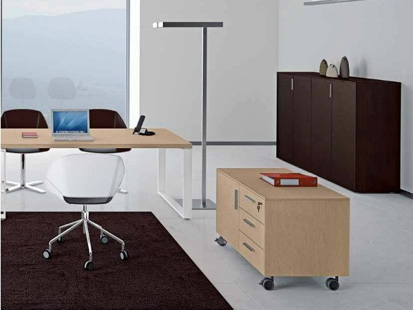 Wooden office drawer unit with casters ARCHIMEDE | Office drawer unit by Castellani.it