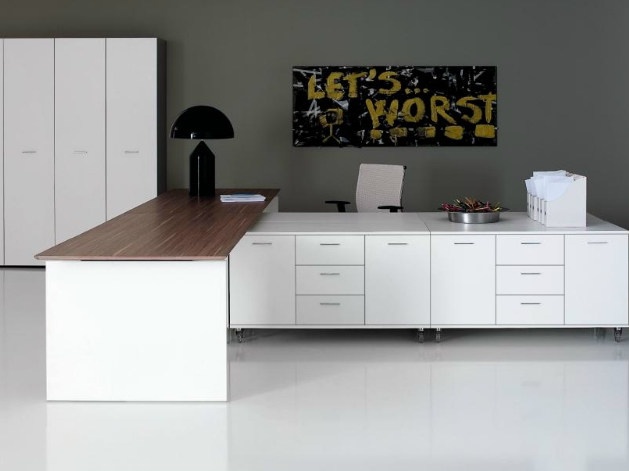L-shaped rectangular office desk with drawers MIRÒ | L-shaped office desk - Castellani.it