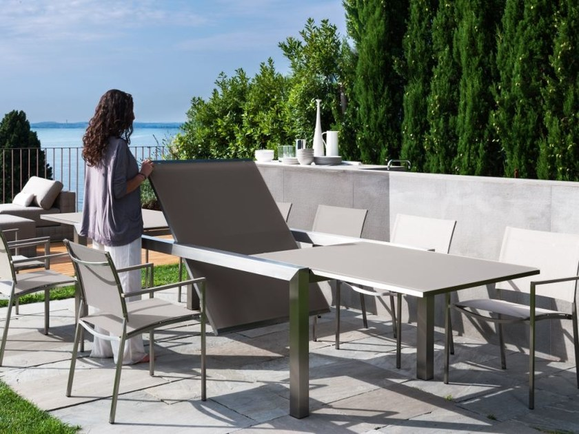 Extending Glass and Stainless Steel table PATCH | Table - Talenti