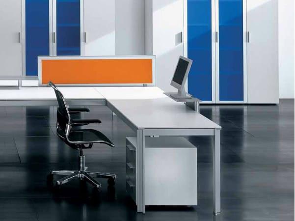 L-shaped wooden office desk ZEFIRO SYS | L-shaped office desk by Castellani.it