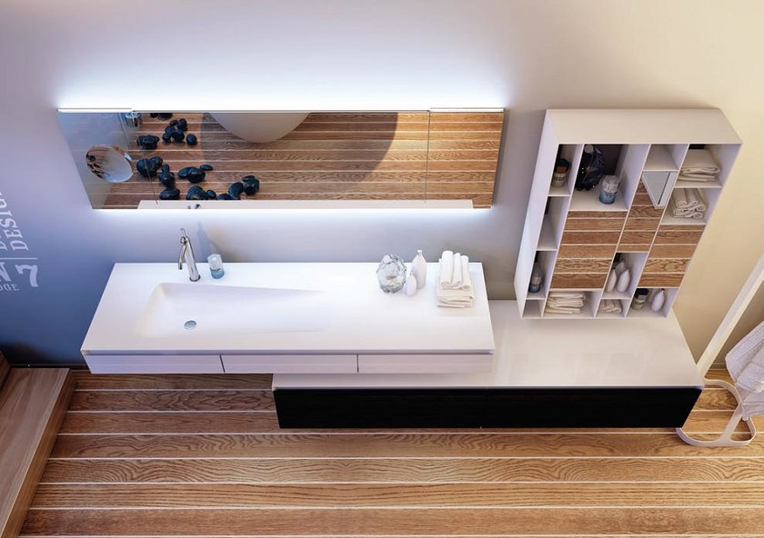 Wall-mounted Corian® washbasin with drawers PLANAR SYSTEM PORTOFINO by MOMA Design