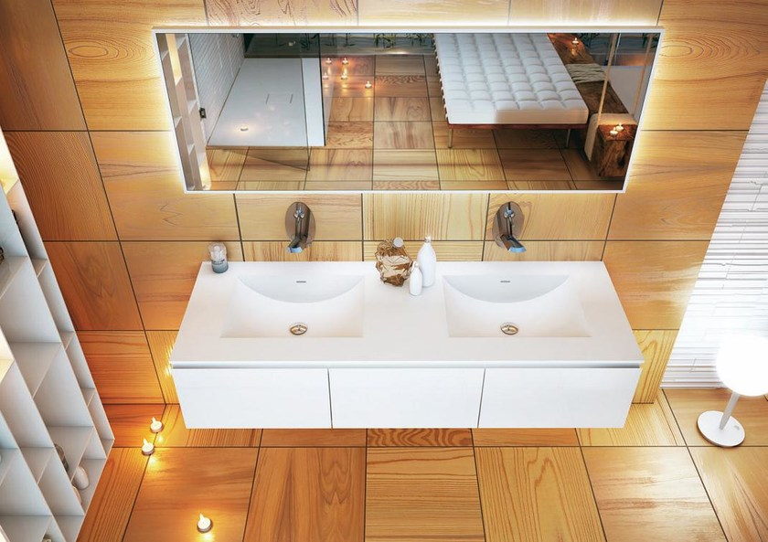 Inset double Corian® washbasin CONCAVO DUE by MOMA Design
