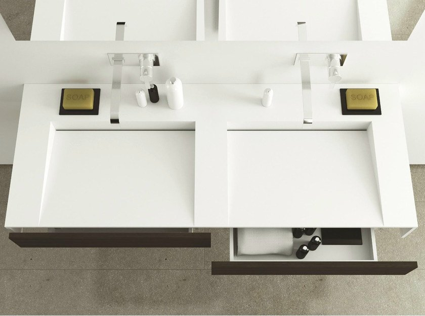 Lavabo doppio sospeso in corian con cassetti slim wood by moma design by archiplast for Lavabo design
