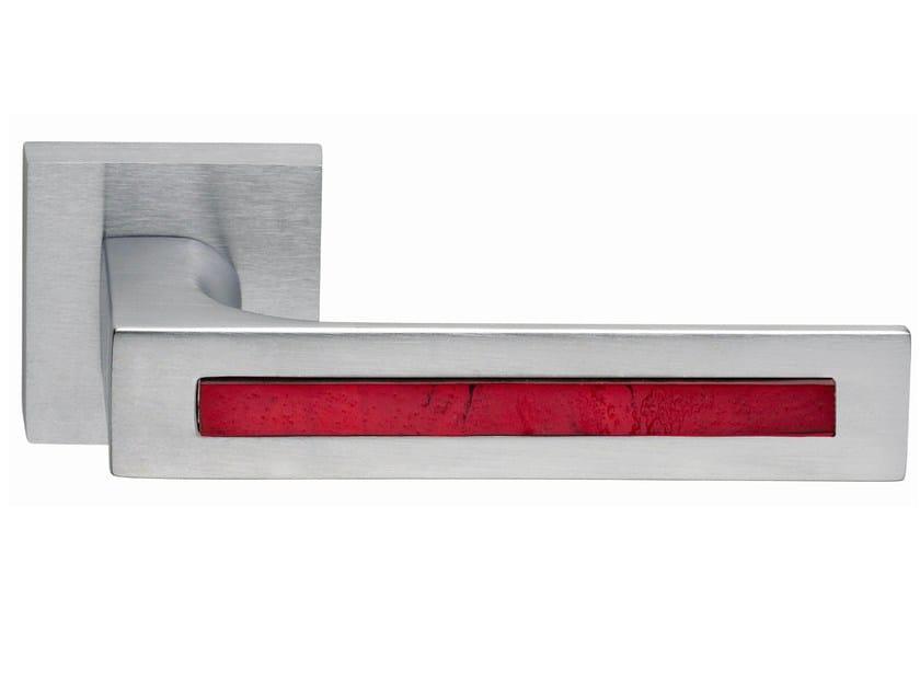 Zamak door handle on rose satin chrome TUKE GLASS   Door handle - Frascio