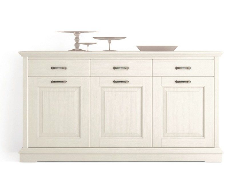 Wooden sideboard with doors with drawers ARIETTE   Sideboard with doors by Scandola Mobili