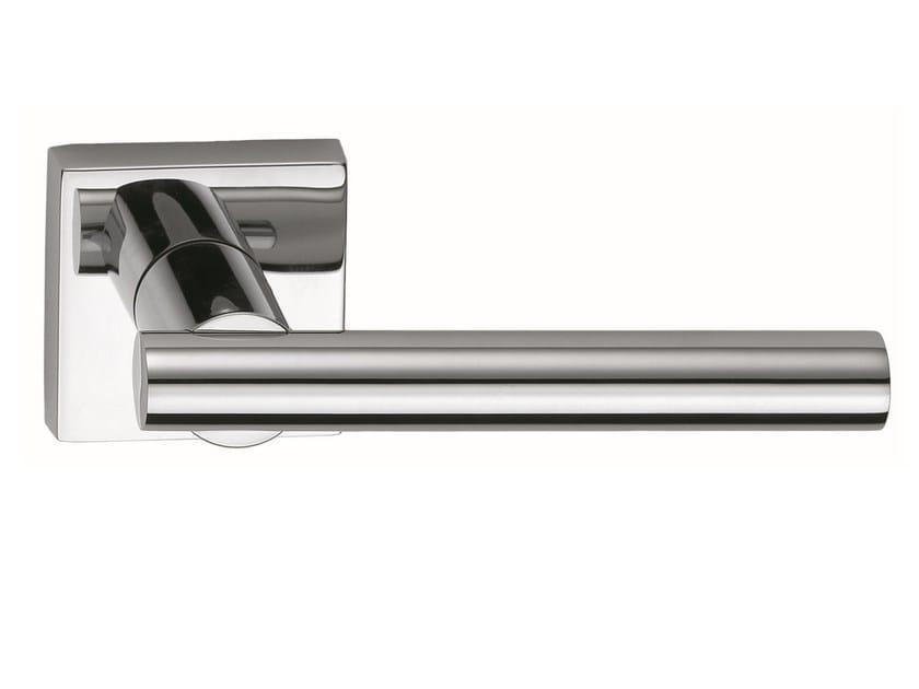 Brass door handle on rose polished chrome MODULO Q | Door handle - Frascio
