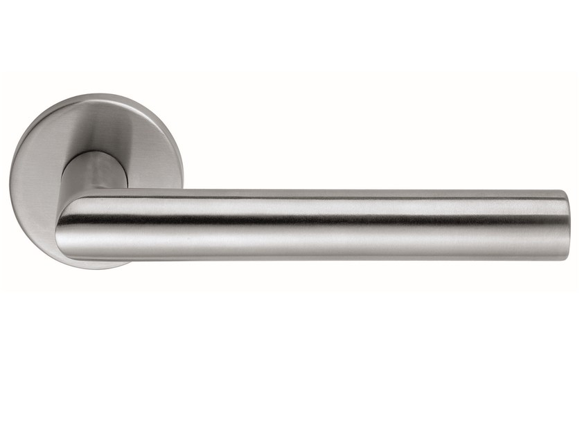 Stainless steel door handle on rose LUCIA | Door handle - Frascio