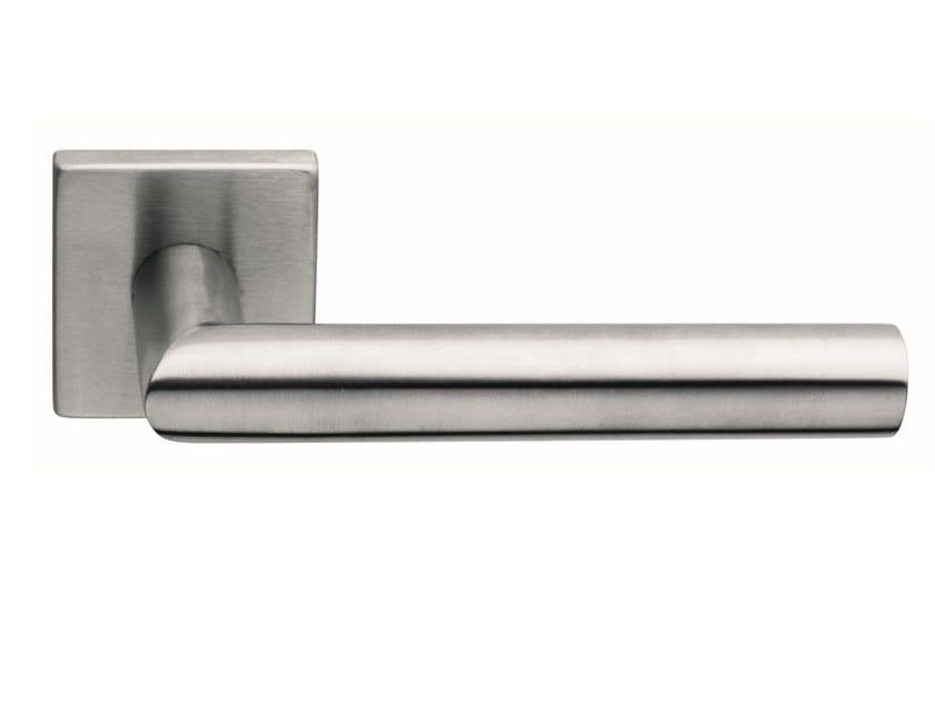 Stainless steel door handle on rose LUCIA SQUARE | Door handle - Frascio
