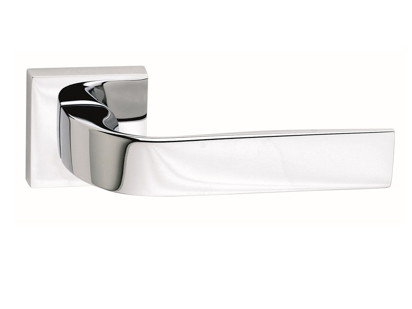 Zamak door handle on rose polished chrome EIDOS | Door handle - Frascio