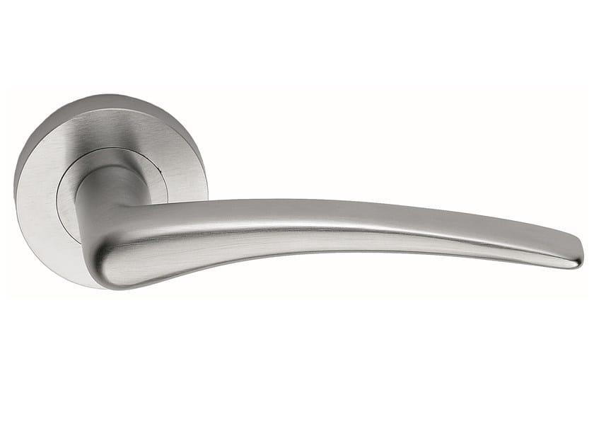 Brass door handle on rose satin nickel HALLEY | Door handle - Frascio