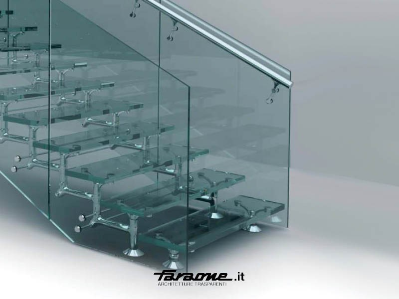 Glass and Stainless Steel Open staircase REGALE by FARAONE