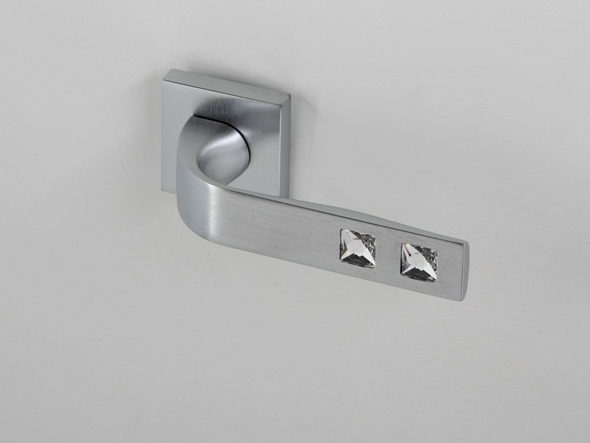 Door handle on rose satin chrome NUIT | Door handle - Frascio
