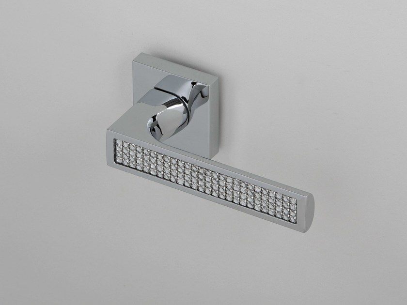 Door handle on rose polished chrome QUEEN | Door handle - Frascio