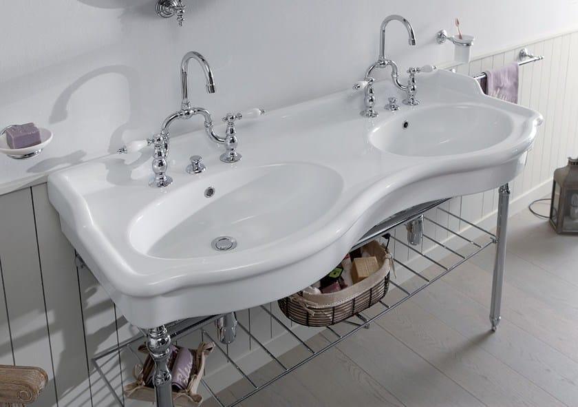 Double ceramic washbasin 8140 | Double washbasin - BLEU PROVENCE