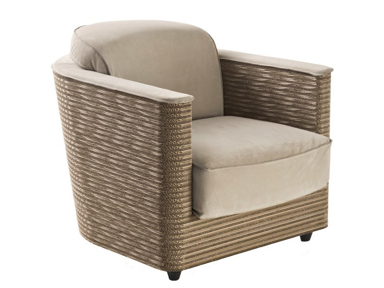 Kraft paper armchair with armrests WENDY - Staygreen