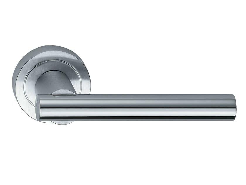 Brass door handle on rose MODULO L | Brass door handle - Frascio