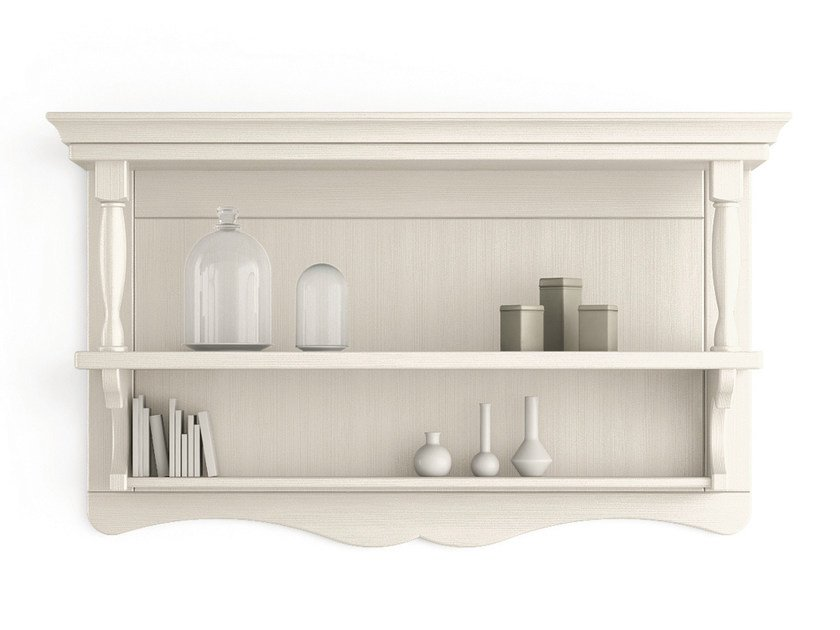 Open wooden wall cabinet with shelves TABIÀ | Open wall cabinet - Scandola Mobili