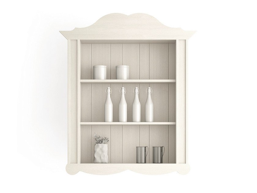 Open wooden wall cabinet with shelves MAESTRALE | Wall cabinet - Scandola Mobili