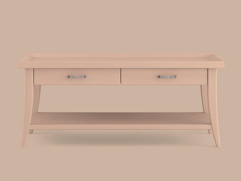 Tavolino basso in legno con portariviste da salotto for Mobili salotto legno