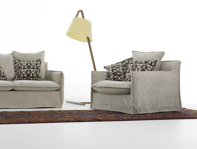 Armchair with removable cover MILOS | Armchair - HORM.IT