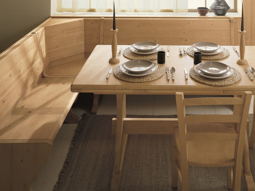Panca in legno con schienale giropanca scandola mobili for Panca angolare con tavolo