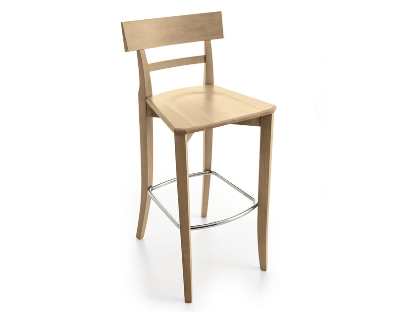 Wooden counter stool with footrest MAESTRALE | Counter stool - Scandola Mobili
