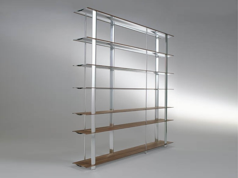 Aluminium and wood bookcase KAZE - HORM.IT