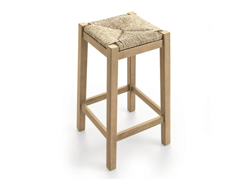Straw stool with footrest PAESANA | Straw stool - Scandola Mobili