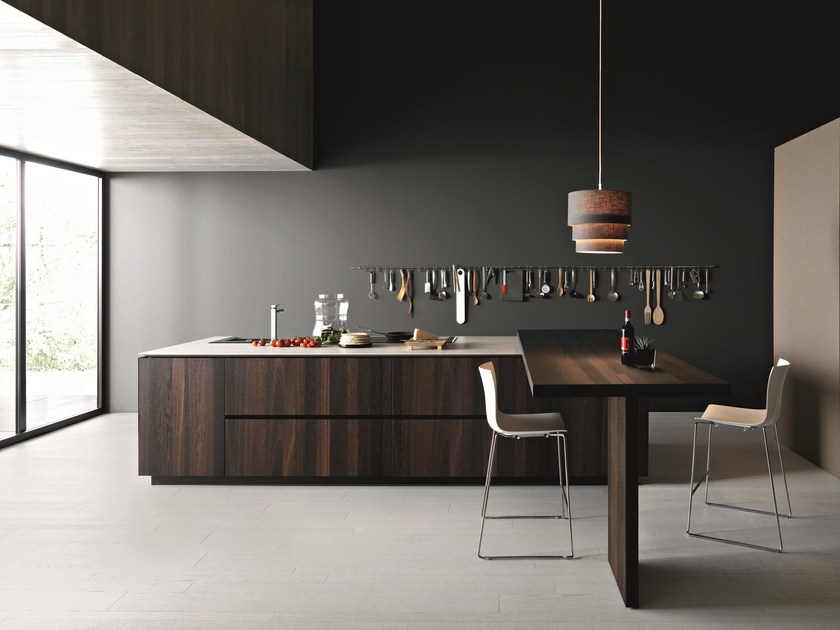 Wooden kitchen with island ELLE - COMPOSITION 2 by Cesar Arredamenti