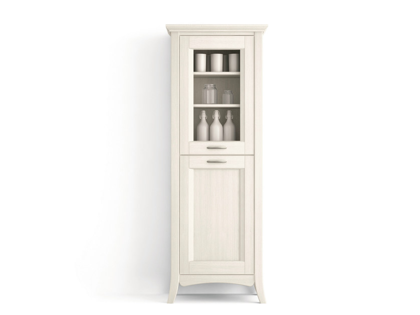 Wooden high cabinets with glass door with doors ARCANDA | Wooden high cabinets - Scandola Mobili