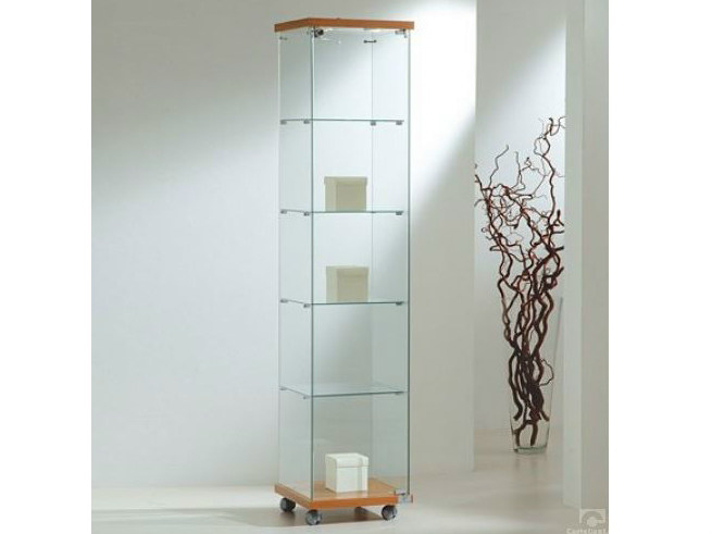 Retail display case with integrated lighting with casters VE40180F | Retail display case - Castellani.it