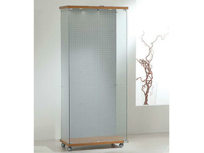 Retail display case with integrated lighting with casters VE80180FB | Retail display case - Castellani.it