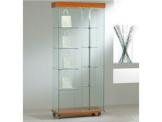 Retail display case with integrated lighting with rotating shelves with casters VE80180G | Retail display case - Castellani.it