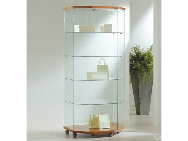 Retail display case with integrated lighting with casters VE80180FT | Retail display case - Castellani.it