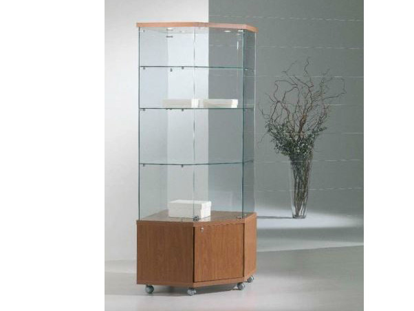Retail display case with integrated lighting with casters VE70180FM | Retail display case - Castellani.it
