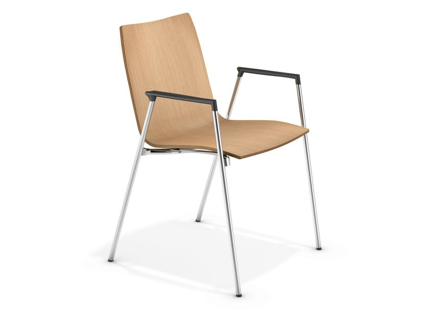 Wooden chair with armrests LYNX II | Chair with armrests - Casala