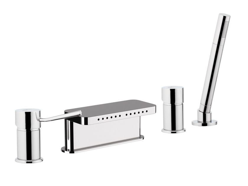 4 hole bathtub set with hand shower MINIMAL | Bathtub set with hand shower - Remer Rubinetterie