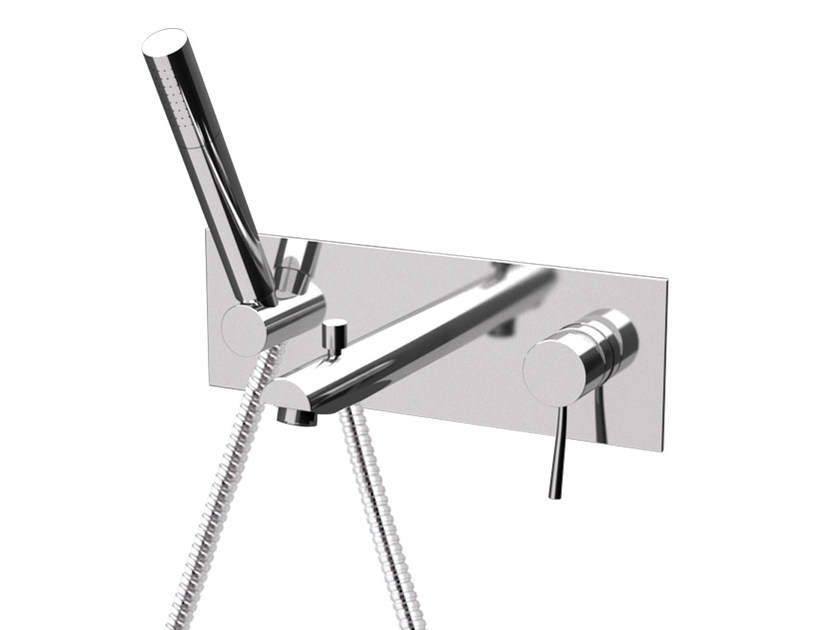 Wall-mounted bathtub mixer with plate MINIMAL | Bathtub mixer with plate - Remer Rubinetterie