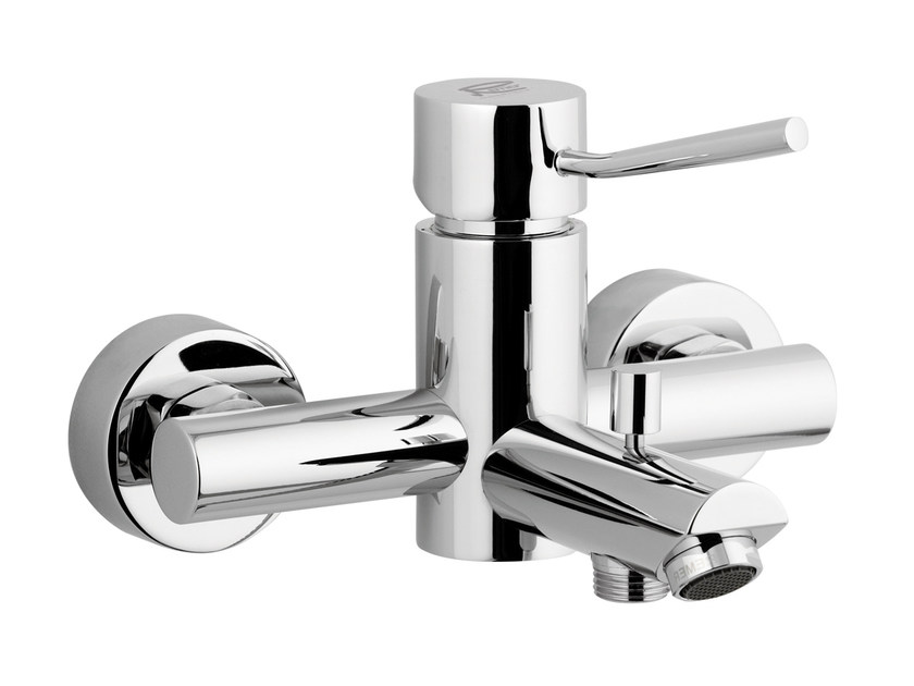Wall-mounted chrome-plated single handle bathtub mixer MINIMAL | Single handle bathtub mixer - Remer Rubinetterie