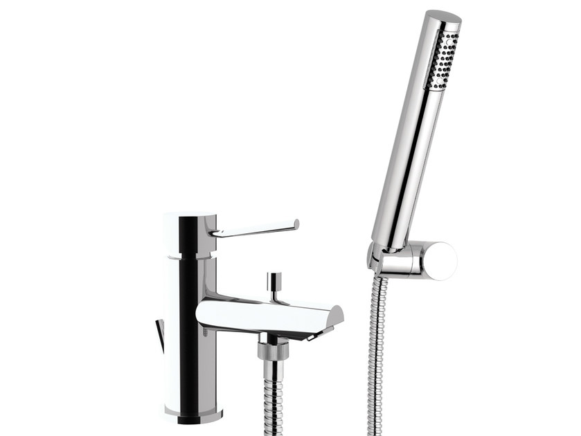 Chrome-plated bathtub mixer with diverter with hand shower MINIMAL | Chrome-plated bathtub mixer - Remer Rubinetterie