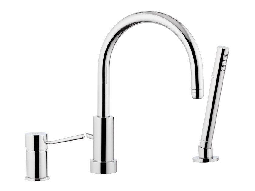 Chrome-plated bathtub mixer with diverter MINIMAL | Bathtub mixer with diverter - Remer Rubinetterie