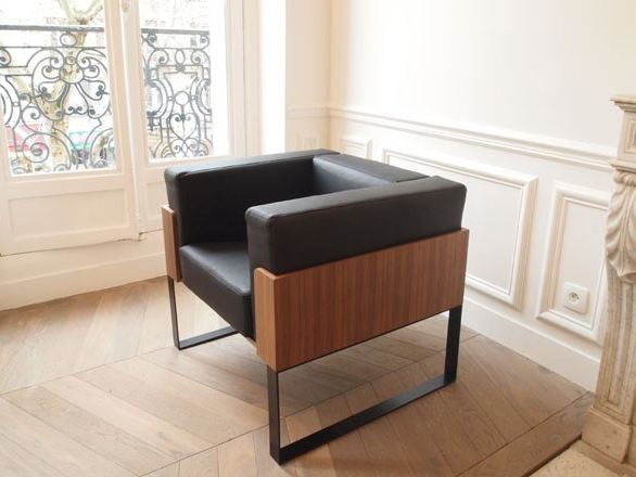 Contemporary style sled base upholstered leather armchair with armrests SÉVERIN | Armchair - Alex de Rouvray design