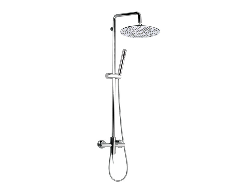 Wall-mounted chromed brass shower panel with hand shower MINIMAL | Shower panel with hand shower - Remer Rubinetterie