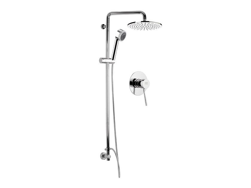 Built-in chromed brass shower panel with hand shower MINIMAL | Chromed brass shower panel - Remer Rubinetterie