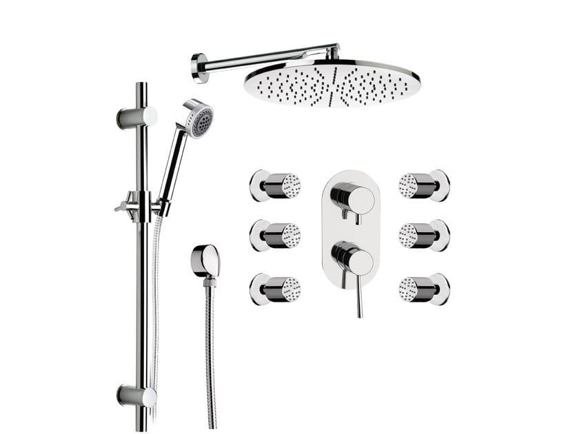 Built-in chromed brass shower panel with overhead shower MINIMAL | Shower panel - Remer Rubinetterie