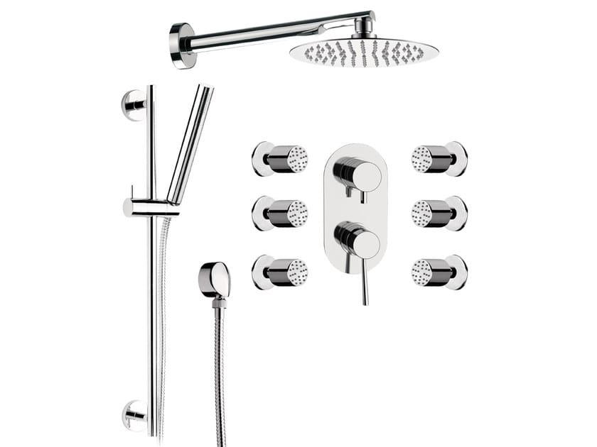Chromed brass shower mixer with hand shower MINIMAL | Shower mixer with hand shower - Remer Rubinetterie